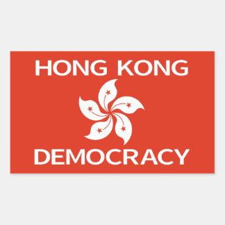 Democracy Hong Kong Orchid Flag Rectangular Sticker