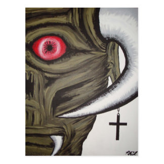 demon face postal postcard