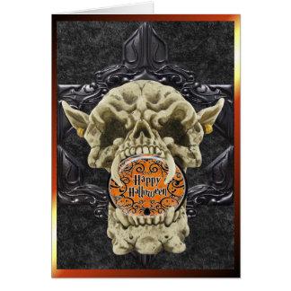 Demon Skull Halloween Card