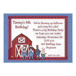 Denim Barnyard Birthday Buddies Personalized Invitation