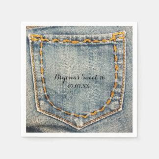 Denim Jean Stitched Pocket Birthday Party Napkins Paper Serviettes