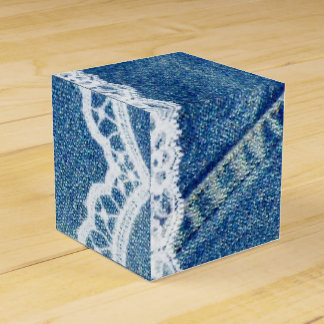 Denim & Lace Printed Wedding Favor Boxes Custom Party Favour Boxes