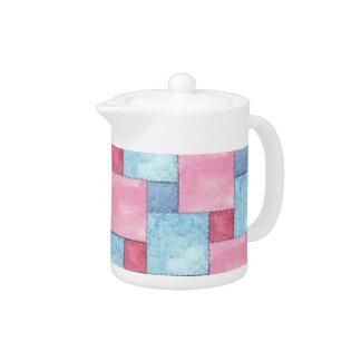 Denim Patchwork Tea Pot, Pinks, Blues