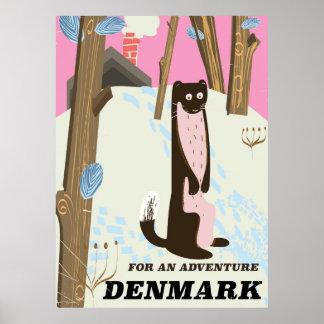 Denmark vintage cartoon landscape travel poster