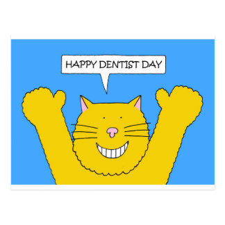 Dentist Day March 6th cute smiling cat. Postcard