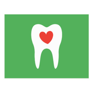Dentist dental clinic appointment reminder, green postcard
