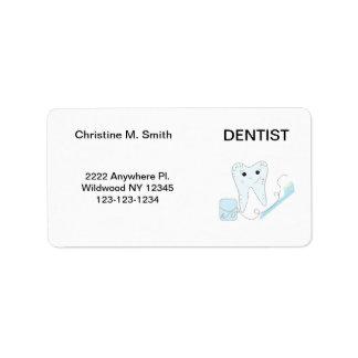 Dentist Smiley Tooth Address Label