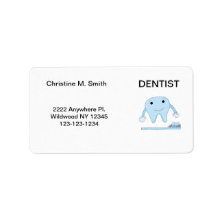 Dentist Smiley Tooth and Toothbrush Label
