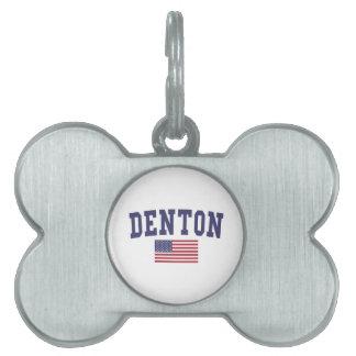 Denton US Flag Pet Name Tag