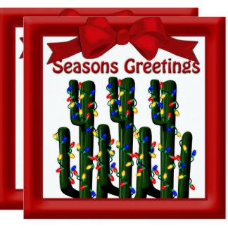 Desert Christmas Cactus Tree Flat Greeting 13 Cm X 13 Cm Square Invitation Card
