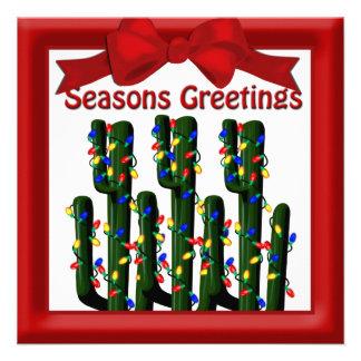 Desert Christmas Cactus Tree Flat Greeting Personalized Invitations