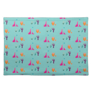 Desert Friends On Teal Pattern Placemat