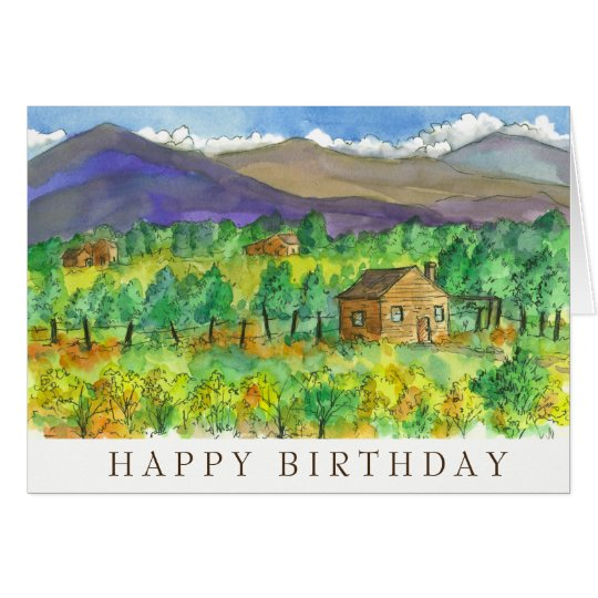 Desert Mountains Watercolor Happy Birthday Card