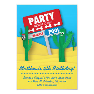 Desert Oasis Pool Party Birthday Invitation