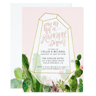 Desert Succulent Rehearsal Dinner Invitation-Pink Card