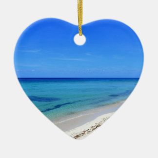 Deserted Cosumel Beach Calm Teal Water White Sand Christmas Ornament