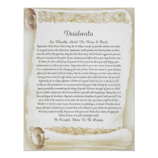 DESIDERATA Antique Florentine Scroll Poster