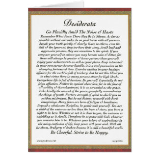 DESIDERATA Card by Max Ehrmann-Formal