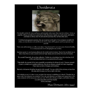 Desiderata Grey Wolves Posters Poster