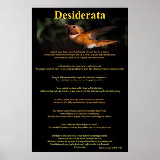 Desiderata Hummingbird Posters 1a Poster