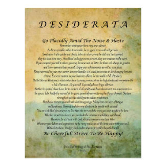 Desiderata on Green Forest Abstract Watercolor Poster