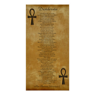 Desiderata on parchment look background Ankh Poster