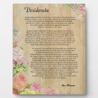 Desiderata on Rustic Wood Panel with Floral Trim Plaque