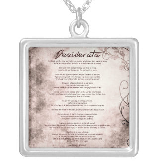 Desiderata on Vintage Floral Faux Parchment Silver Plated Necklace