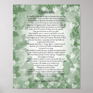 "Desiderata"" prose green floral poster"