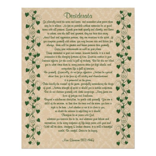 Desiderata prose Ivy on light parchment Print