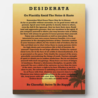 Desiderata Tropical Sunset Display Plaque