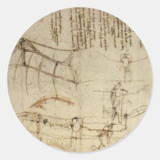 Design for a Flying Machine by Leonardo Da Vinci Classic Round Sticker