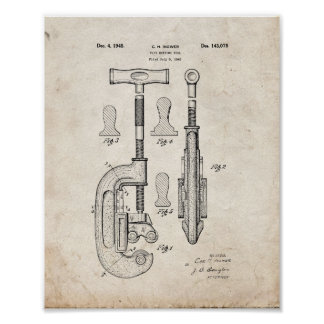 Design For A Pipe Cutting Tool Patent - Old Look Poster