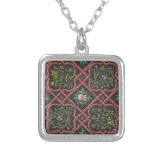 Design for wallpaper featuring flowers and lattice silver plated necklace