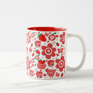 design of strawberries and cakes Two-Tone mug