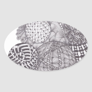 design Yarn Balls Oval Sticker