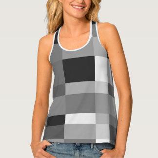 Designer black and white checkerboard pattern singlet