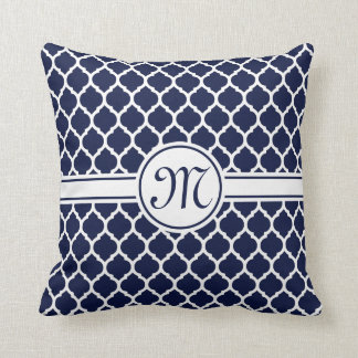 Designer Navy Monogrammed Moroccan Lattice Pattern Cushion