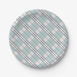 Designer Plaid Pattern Blue Grey Brown Paper Plate