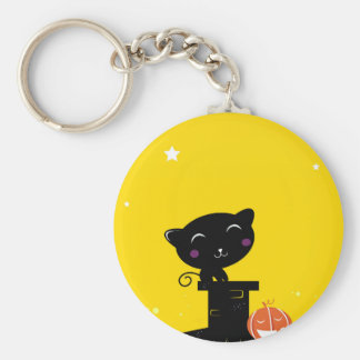 Designers button with black Cat Basic Round Button Key Ring