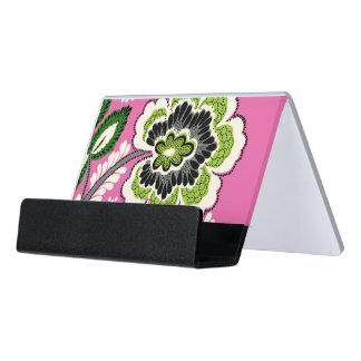 Desk Business Card Holder - Pink Green Flowers
