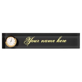 Desk Nameplate With Clock