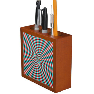 Desk Organizer  Turquoise and Red Spiral Rays Pencil Holder