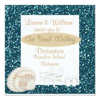 Destination Beach Wedding Invitations TURQUOISE CR