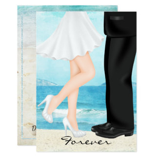 Destination Beach Wedding with Bride and Groom Card