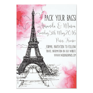 Destination Paris Wedding Save the date 13 Cm X 18 Cm Invitation Card