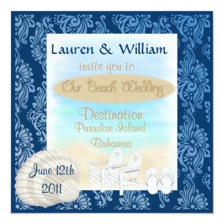 Destination Wedding Invitation Damask Design