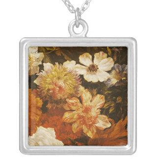 Detail of Flowers Silver Plated Necklace