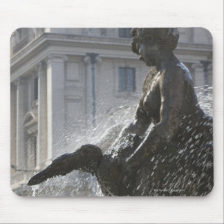 detail of lady and swan on the fountain of the mouse pad