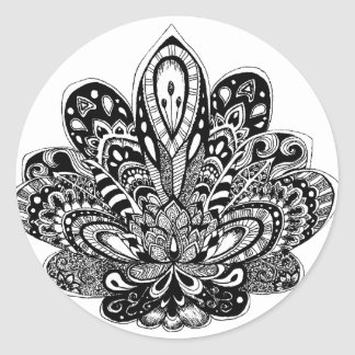 Detailed zendoodle Lotus Classic Round Sticker